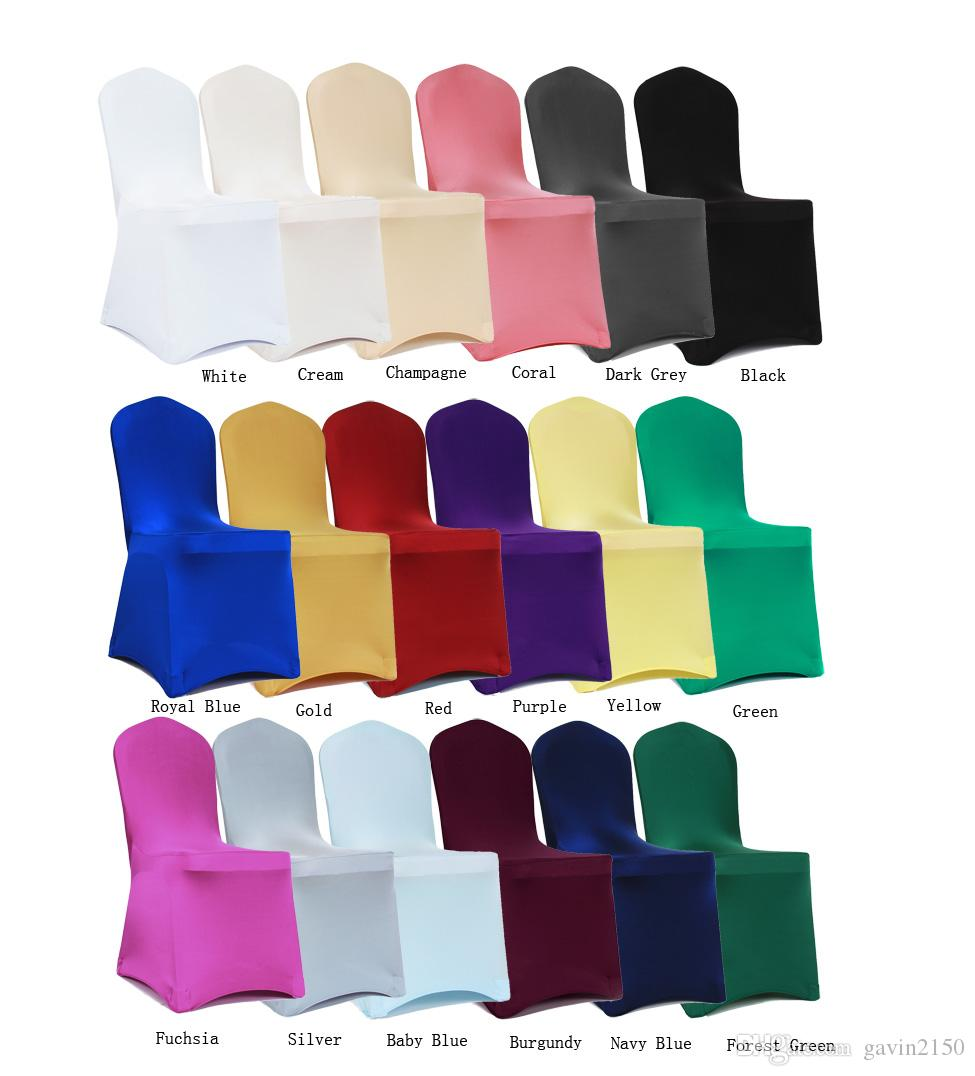 Free Shipping Hot Selliing 230g Stock Shiny Universal Colorful Stretchable lycra Spandex Wedding Chair Cover for Banquet Chairs