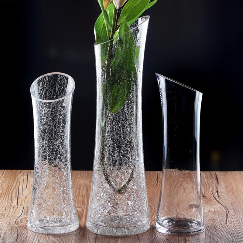 Na moda crackle borda angular vaso vaso de flores plantador vaso de flor hidropônico transparente