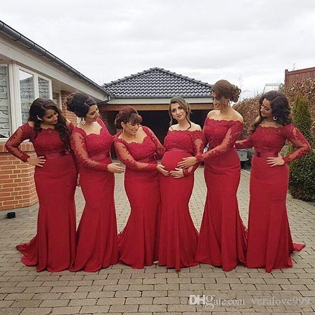 Hot Red Bridesmaid Dresses Long Sleeves Bateau Neck Cheap Formal Party Wear Maid of Honor Dresses Mermaid Wedding Guest Gowns