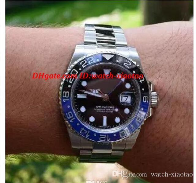 Lujo Bisel de cerámica GM / T II 40mm 116710 Pulsera de acero inoxidable Azul Dial luminiscente Reloj automático para hombre Relojes de los hombres