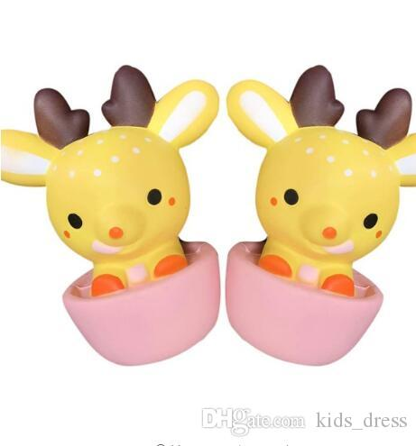 Kawaii Deer Squishy Tea Cup Super Slow Rising Sweet Cream Scented Decompression Squeeze Toys For Kids Doll Gift Fun KKA2796