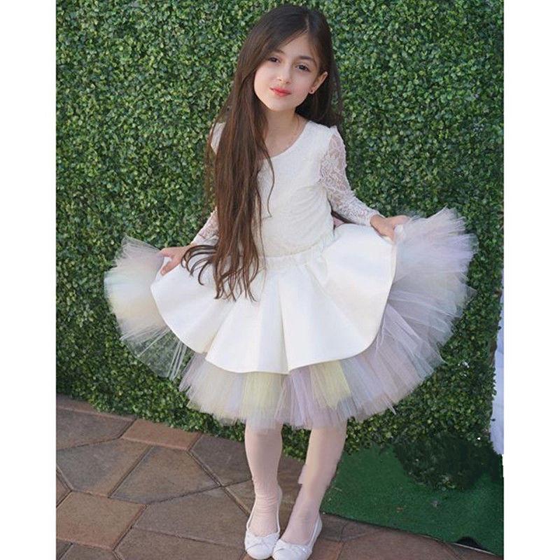 Симпатичные короткие пачки цветочные платья для девочек экипаж линии Tull Pageant платья для детей девушки Причастие платье с длинным рукавом Sheer кружева