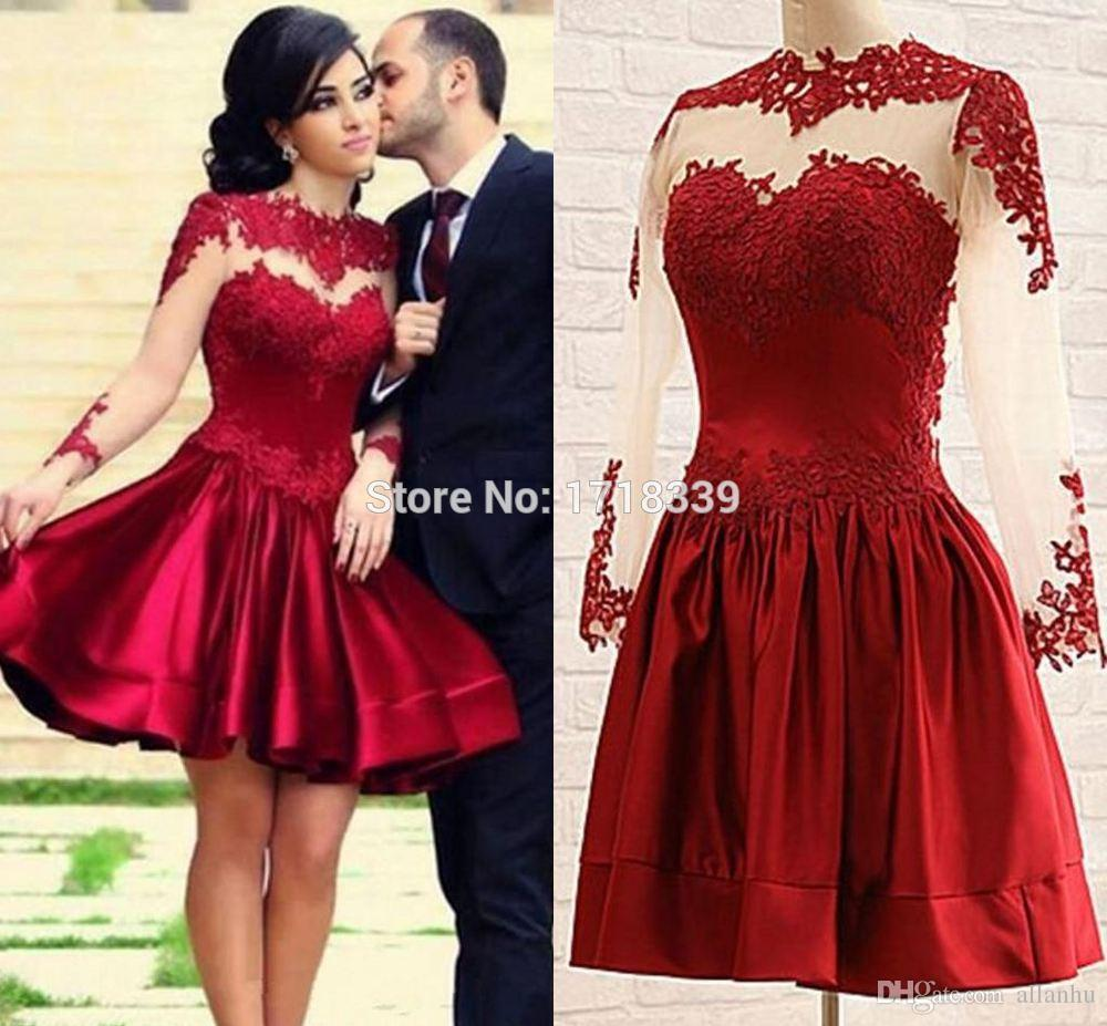sells unique design excellent quality 2019 Burgundy Short Cocktail Dresses Long Illusion Sleeves A Line Mini  Party Dresses With Lace Appliques Velvet Homecoming Dresses Petite Dresses  ...
