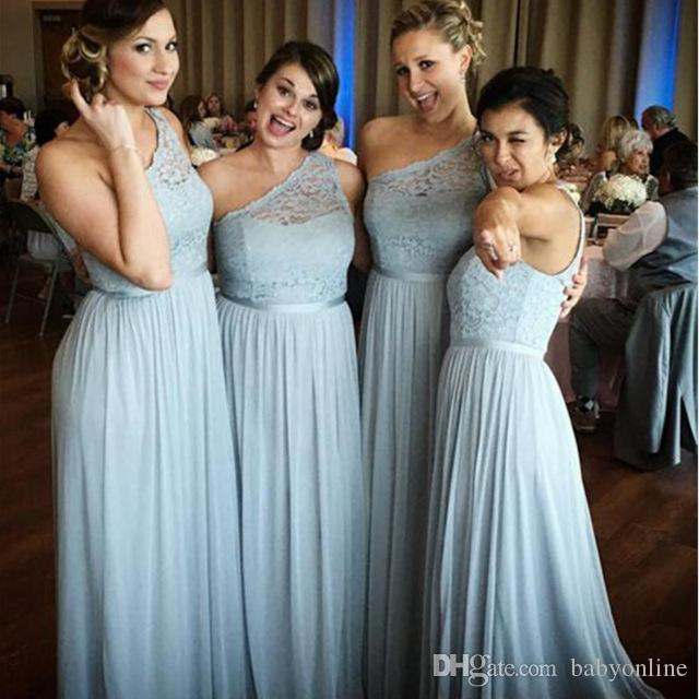 New Arrival One Shoulder Bridesmaid Dresses Plus Size Lace Bodice Chiffon A  Line Backless Long Maid Of The Honor Dresses With Belt Pastel Bridesmaid ...