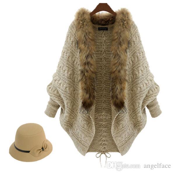 Moda Kadın Kazak Kış Kürk Yaka Uzun Coat Örme Pelerin Kazak Mont Uzun Kollu batwing Hırka Dış Giyim Bayanlar Giyim DHL Ücretsiz