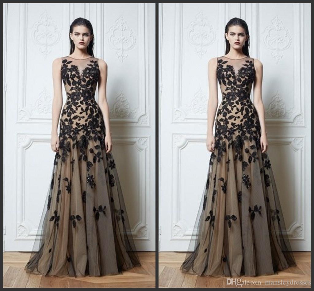 Großhandel Zuhair Murad Haute Couture Appliques Schwarz Abendkleider 11  Lange A Line Ärmeln Applikationen Sheer Vintage Pageant Prom Kleider Von