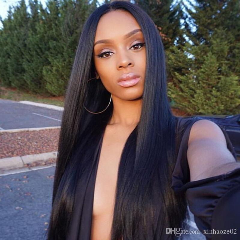 Long length Silky straight brazilian human hair glueless full lace wig with baby hair around natural hairline silk base lace fornt wig