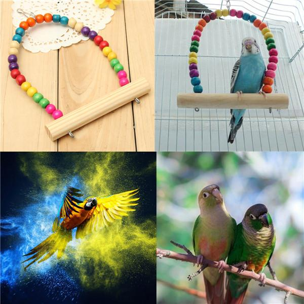 2016 Wooden Bird Parrot Swing Stand Cage Colorful Hanging Toys For Cockatiel Budgie