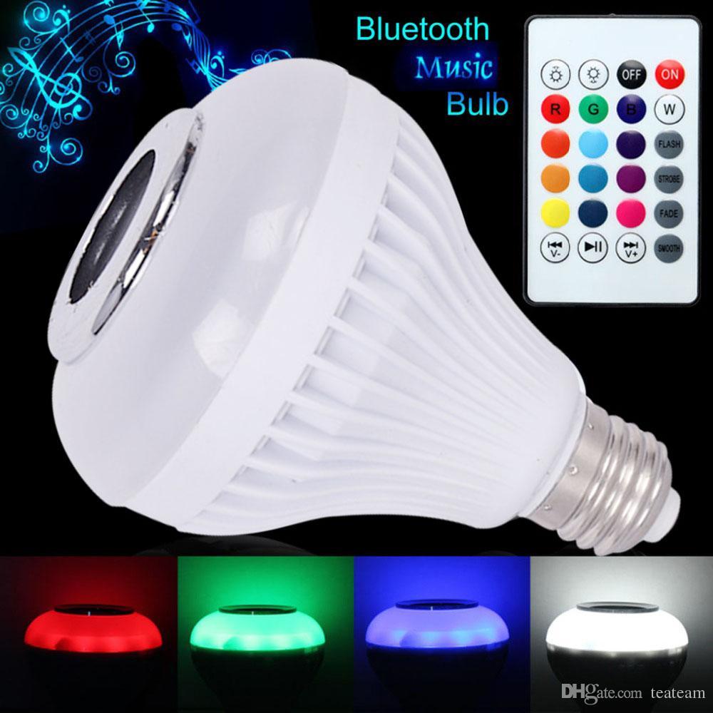 LED 전구 E27 스마트 뮤직 램프 RGB 무선 블루투스 오디오 스피커 램프 다 원격 제어 조명 홈 파티 조명