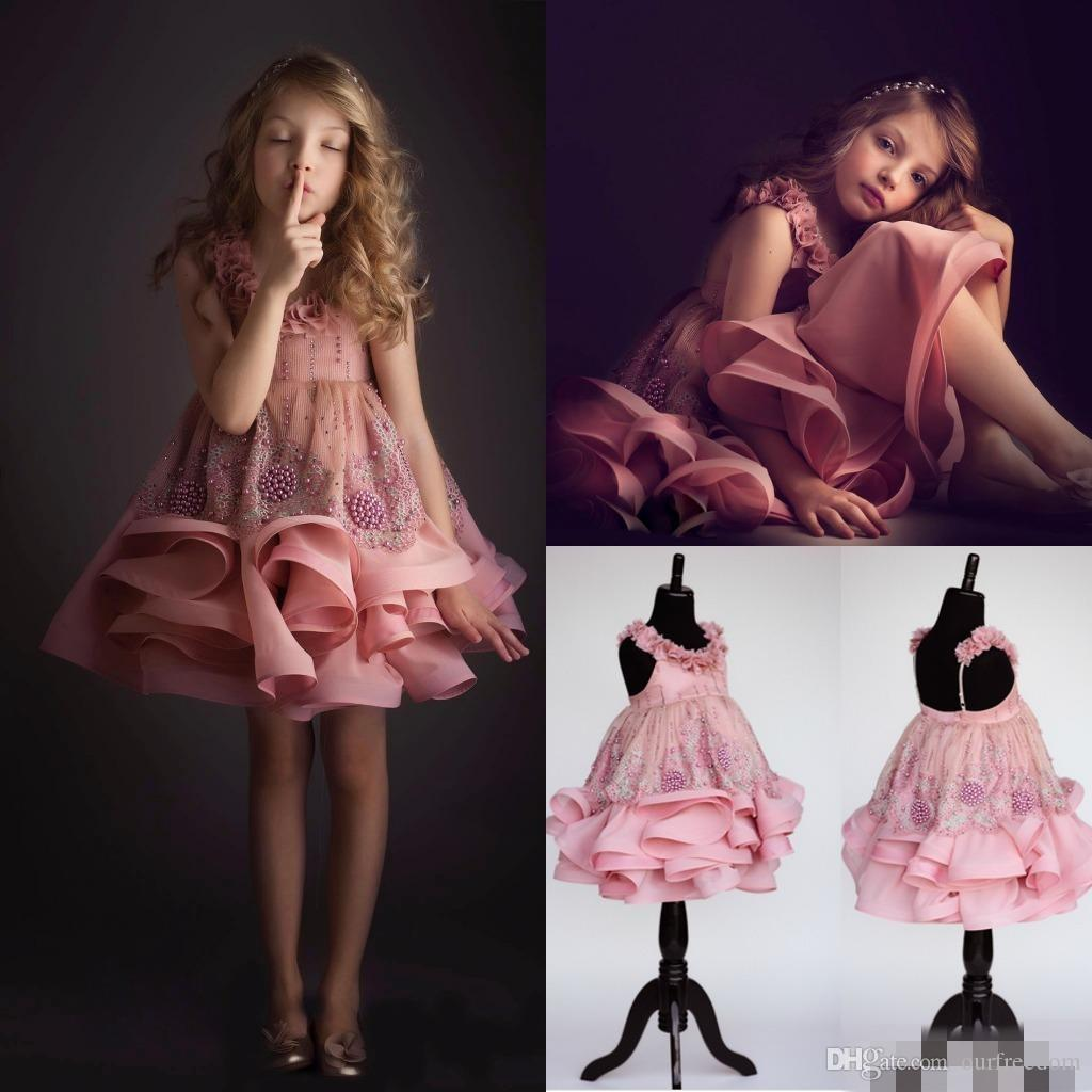 Short Girl's Pageant Dresses Sleeveless Tiered Ruffles Beads Jewel Neck Lace Flower Girl Dress For Weddings Sleeveless Teens Prom Gown 2019