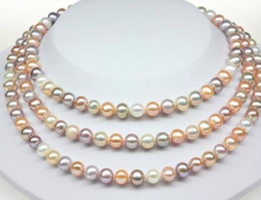 Elegante collana di perle rotonde multicolor mare rotondo 9-10mm con chiusura in oro 14 kt da 14 pollici