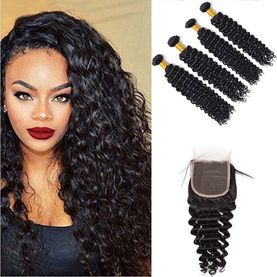 100% Unprocessed Virgin Brazilian Peruvian Indian Malaysian Mongolian Hair Weaves Deep Wave Hair Extensions 4pcs Hair Bundles With Closure