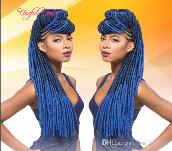ombre blue burgundy soft dreadlocks Faux locs SYNTHETIC braiding hair crochet braidS HAIR MARLEY TWIST 100g ombre kanekalon hair extensions