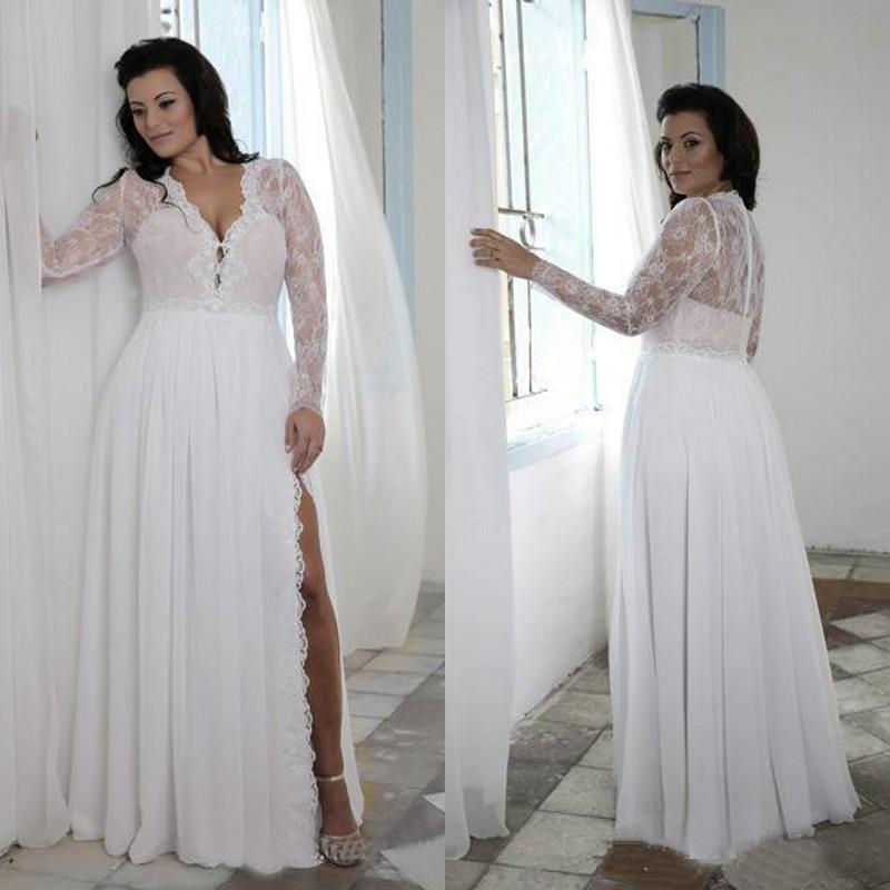 Summer 2016 Beach Chiffon And Lace Long Sleeves Wedding Dresses Cheap V Neck Side Split Plus Size Bridal Gowns Custom Made EN3311