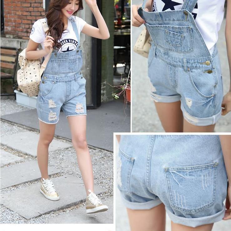 Donna Denim Distress Stile Casual Tuta Tasca frontale con patta Salopette corta Jeans lavato Jeans Tutina Pagliaccetto Taglie forti