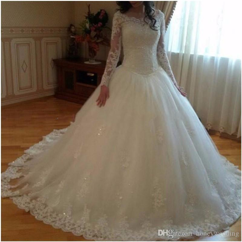 Ball Gown Wedding Dresses 2016 With Long Sleeves Lace Appliques Modest Muslim Arabic Bridal Gowns Cheap Wedding Gowns Custom