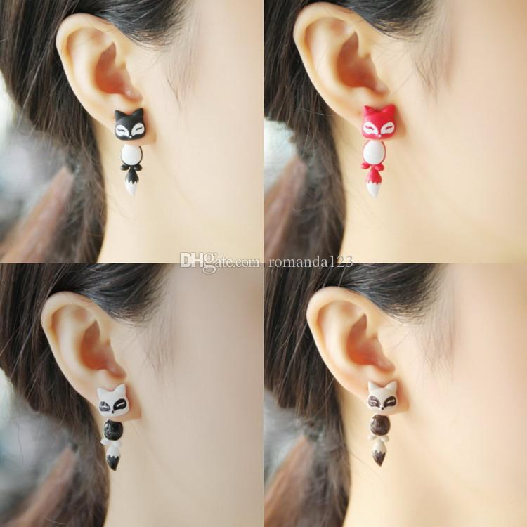 Enamel Alloy Animal Cute Fox Stud Puncture Earrings For Women Jewelry 10 Colors DHL free shipping