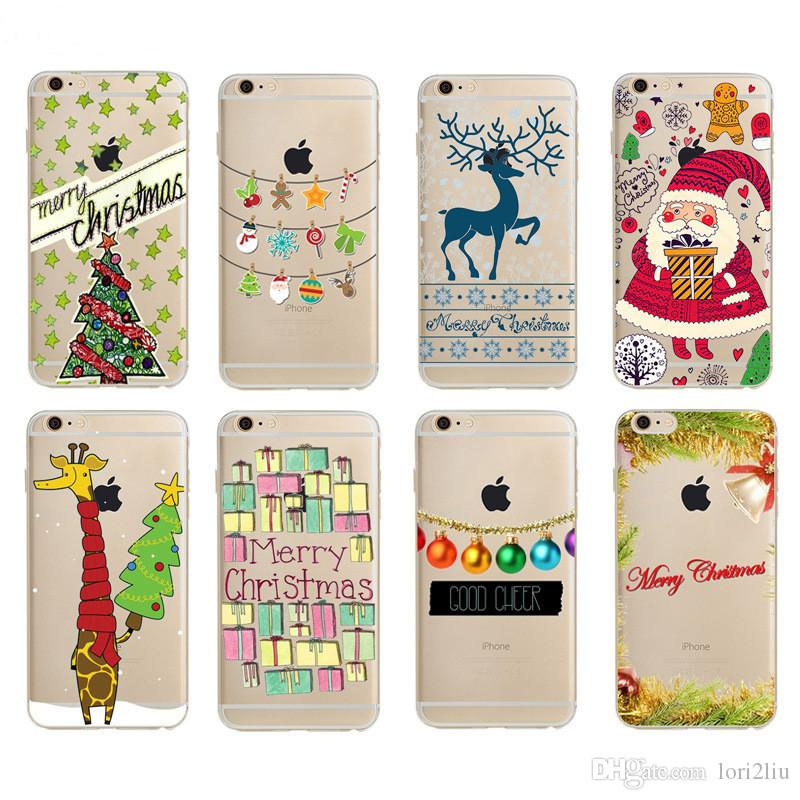 Christmas Phone Case Iphone 7.2017 Merry Christmas Phone Case For Iphone 6 6s Plus 5 5s Se 7 7 Plus Happy New Year Santa Claus Socks Shell Cover With Retail Bag Package Mobile