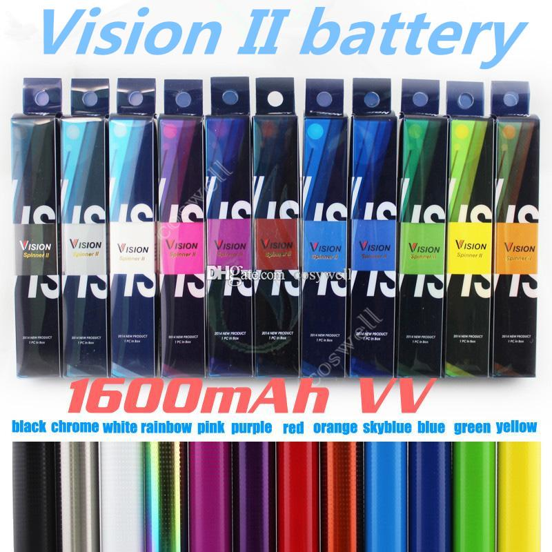 Top quality Vision Spinner 2 1650mAh Ego twist 3.3-4.8V vison spinner II variable voltage battery for Electronic cigarette ego atomizer DHL