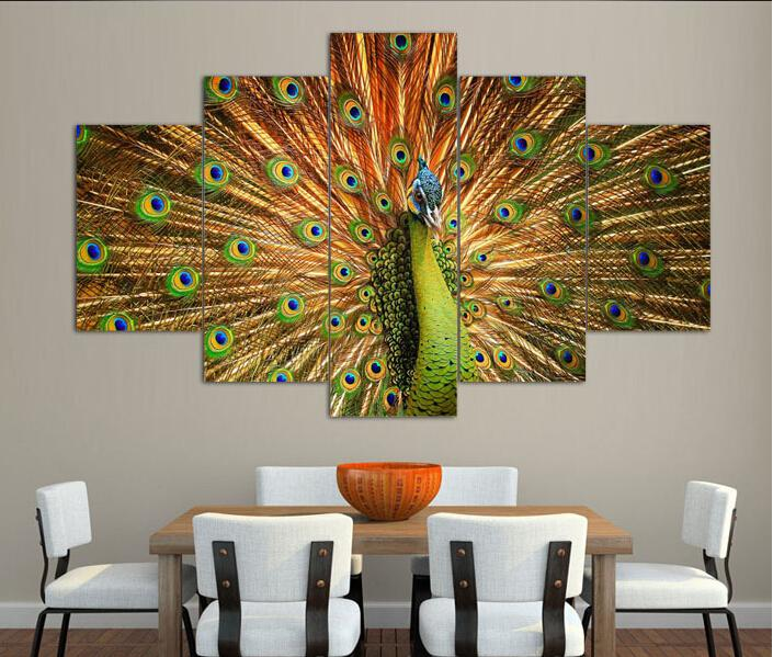 Free shipping canvas art abstract Peacock oil painting canvas prints wall art home decoration print picture framed art F/338