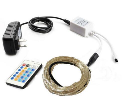 12 V 10 m 33 pies 100 LED de navidad cadena de iluminación de atenuación Xmas Cooper Fairy Strings lámpara + Flash controlador remoto + adaptador de alimentación de la UE EE. UU. AU del Reino Unido