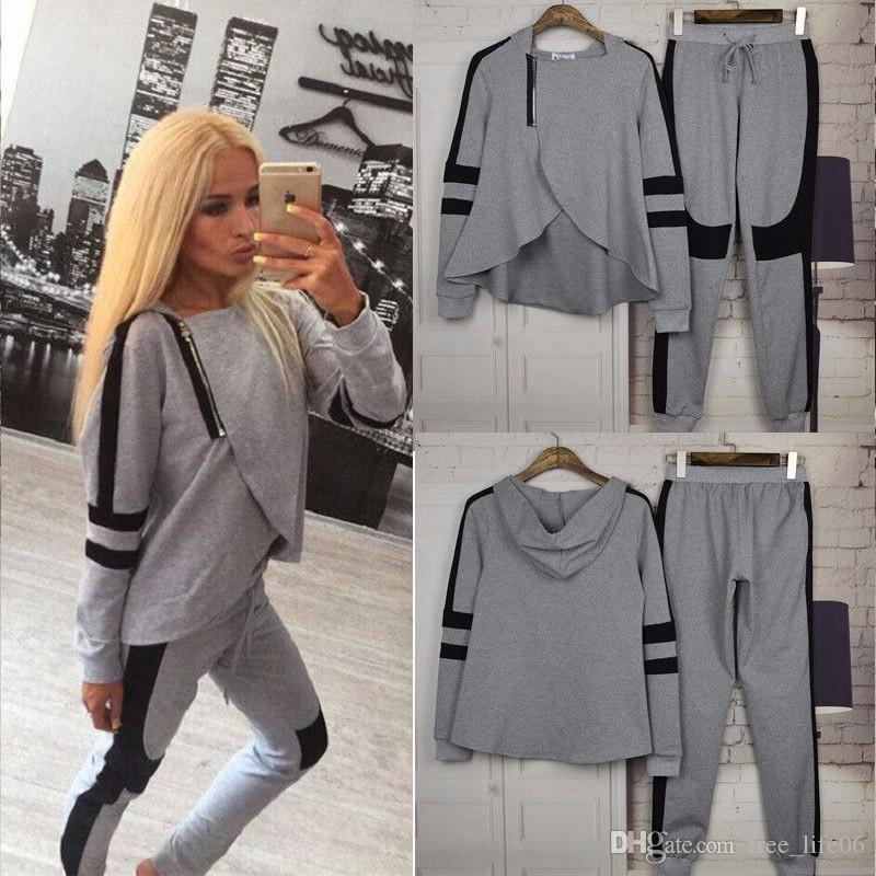 2017 Outono Mulheres Treino Patchwork Com Capuz Oblique Zipper Camisolas Calças Casuais 2 Peça Set Roupas Hoodies Set Trajes