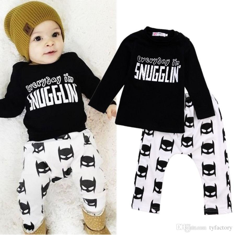 Newborn Toddler Baby Boys Batman snugglin letter printed kids boy girl Clothes Long Sleeve cotton T-shirt+Pants Outfits 0-24M free shipping