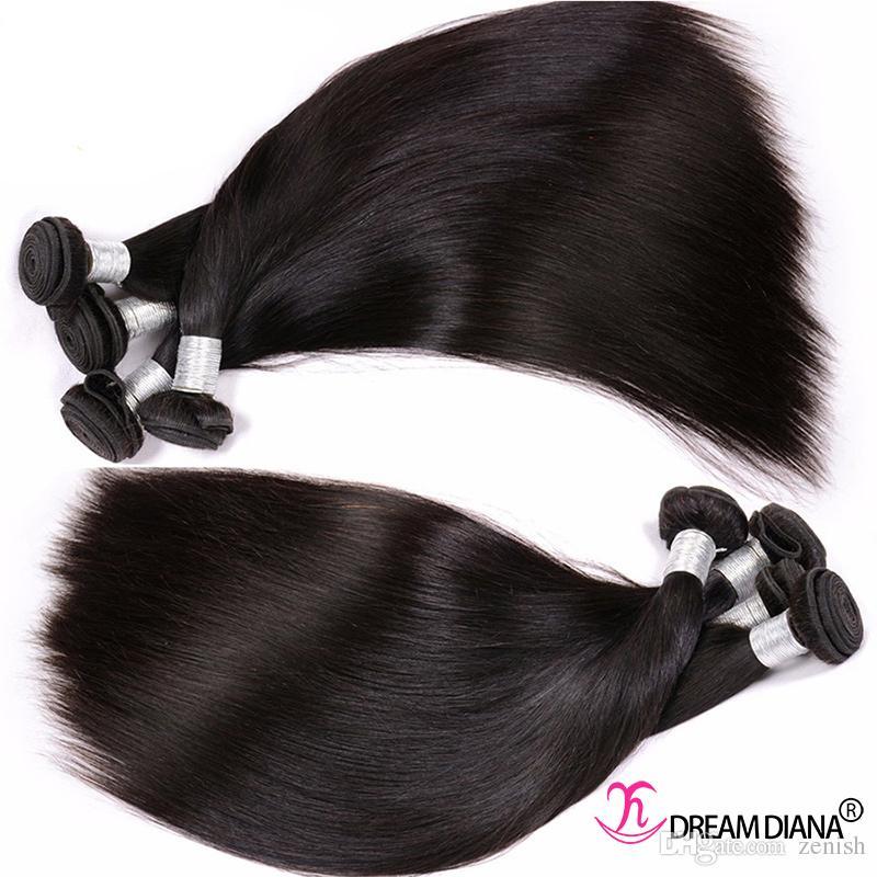Estensioni dei capelli vergini Non trasformati Bundle dei capelli umani Straight Peruviano indiano indiano Malesiano Capelli brasiliani Tessuti Remy 3 Bundles 300g Grado 10A