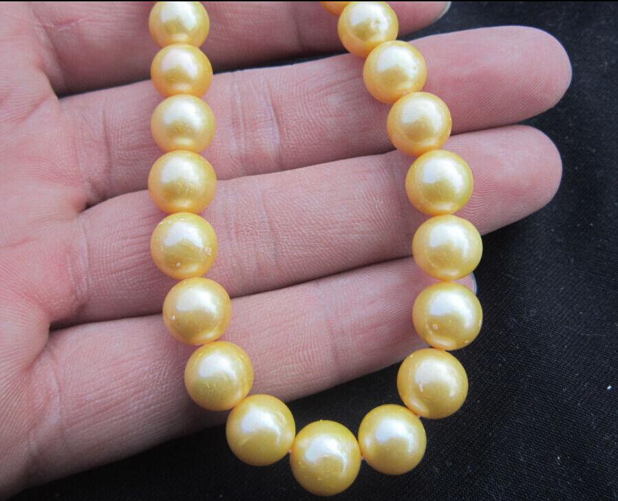 echte Charming Südsee 10-11mm gelbe natürliche Perlenkette 18inch14k