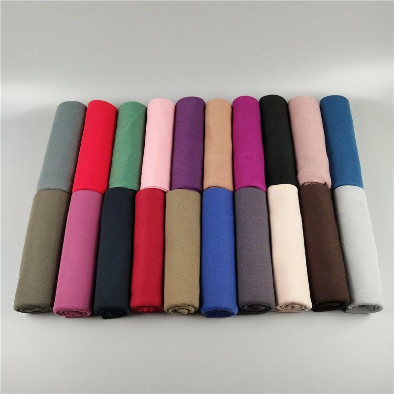 28 colores de color sólido jersey bufandas suave y cómodo clásico salvaje otoño e invierno cálido bufandas musulmanes Hijab