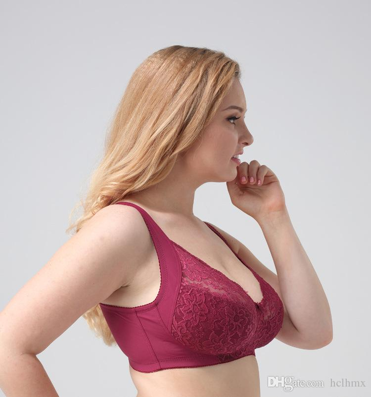 for plump big bust women bra plus lingerie womens bralette lace wine red hot sexy bra free shipping retail wireless europe America