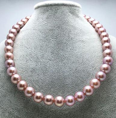 Splendida 8-9mm mari del sud viola perla collana 18inch chiusura in argento 925
