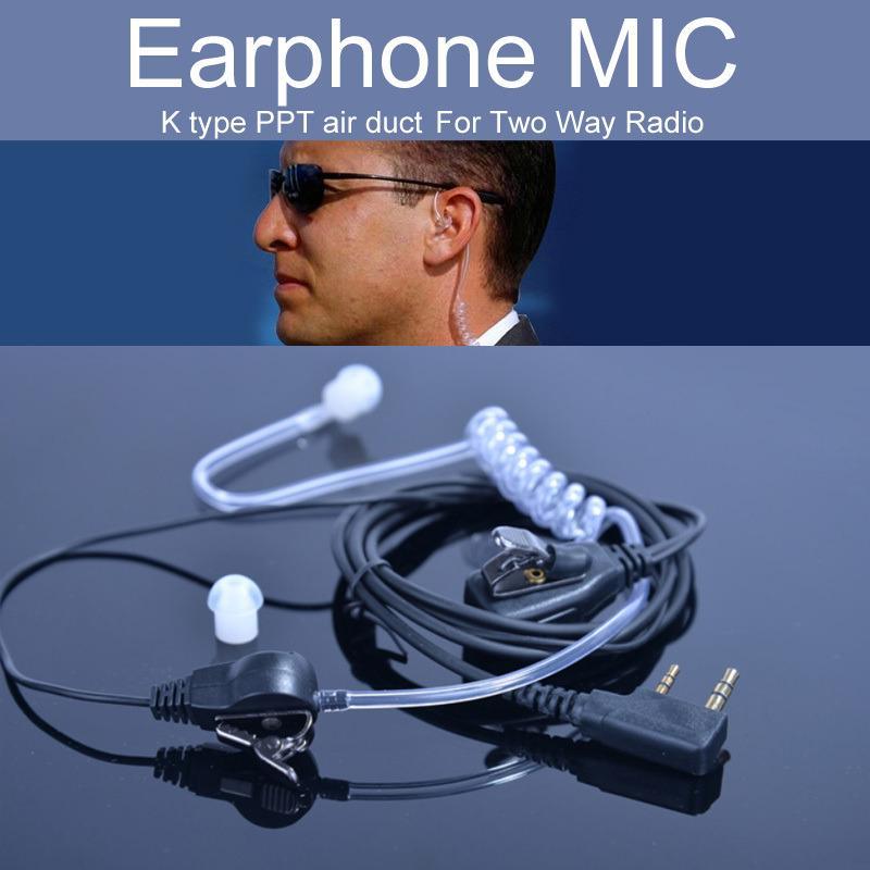 Tubo Kenwood K tipo walkie-talkie accessori per auricolari Mic per UV-5R Air Acoustic 2 Pin PPT Auricolare auricolare Throat Mic microfono