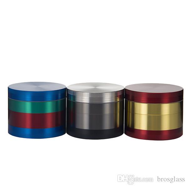 Top quality colorato 55 * 45mm 4 parti in lega di zinco Herb Grinder Smoking smerigliatrice di fumo di erbe 4 parti Chromium Crusher smerigliatrice colorata