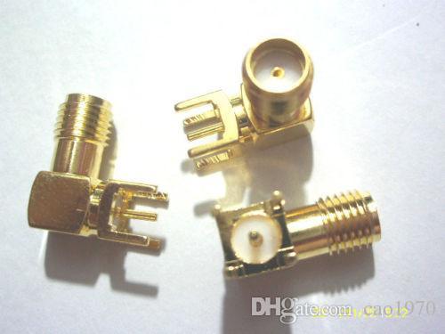 100pcs Gold SMA weibliches rechtwinkliges Lötmittel PWB Einfassung Rf-Adapter