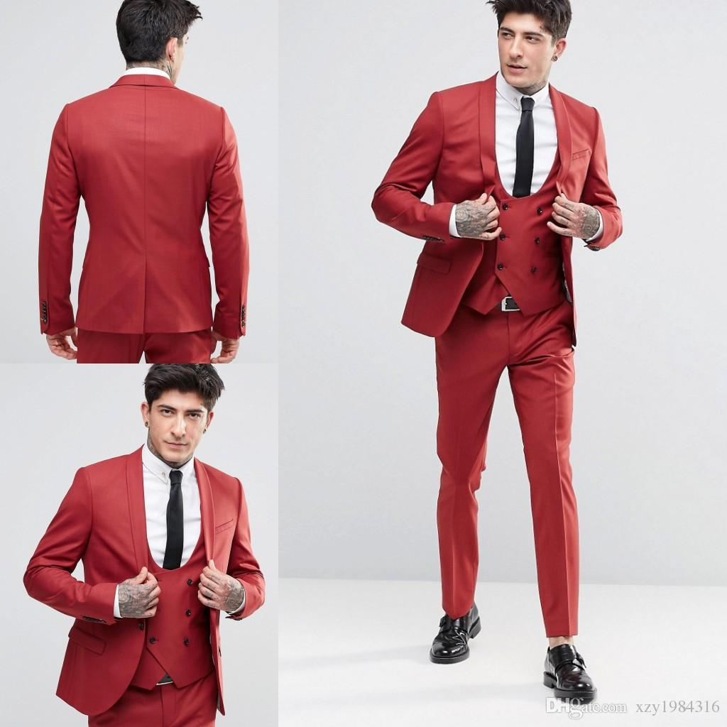 New Fashion Handsome Groom Tuxedos Shawl Lapel One Button Three Pockets Groom Suits Extremely Cool Best Man Suits (Jacket+Pants+Vest )