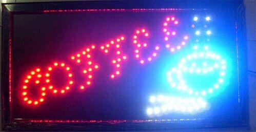 2016 Gráficos real semi-al aire libre 10X19 pulgadas café tienda Led Neon Animated abierta la muestra del LED al por mayor de la pantalla