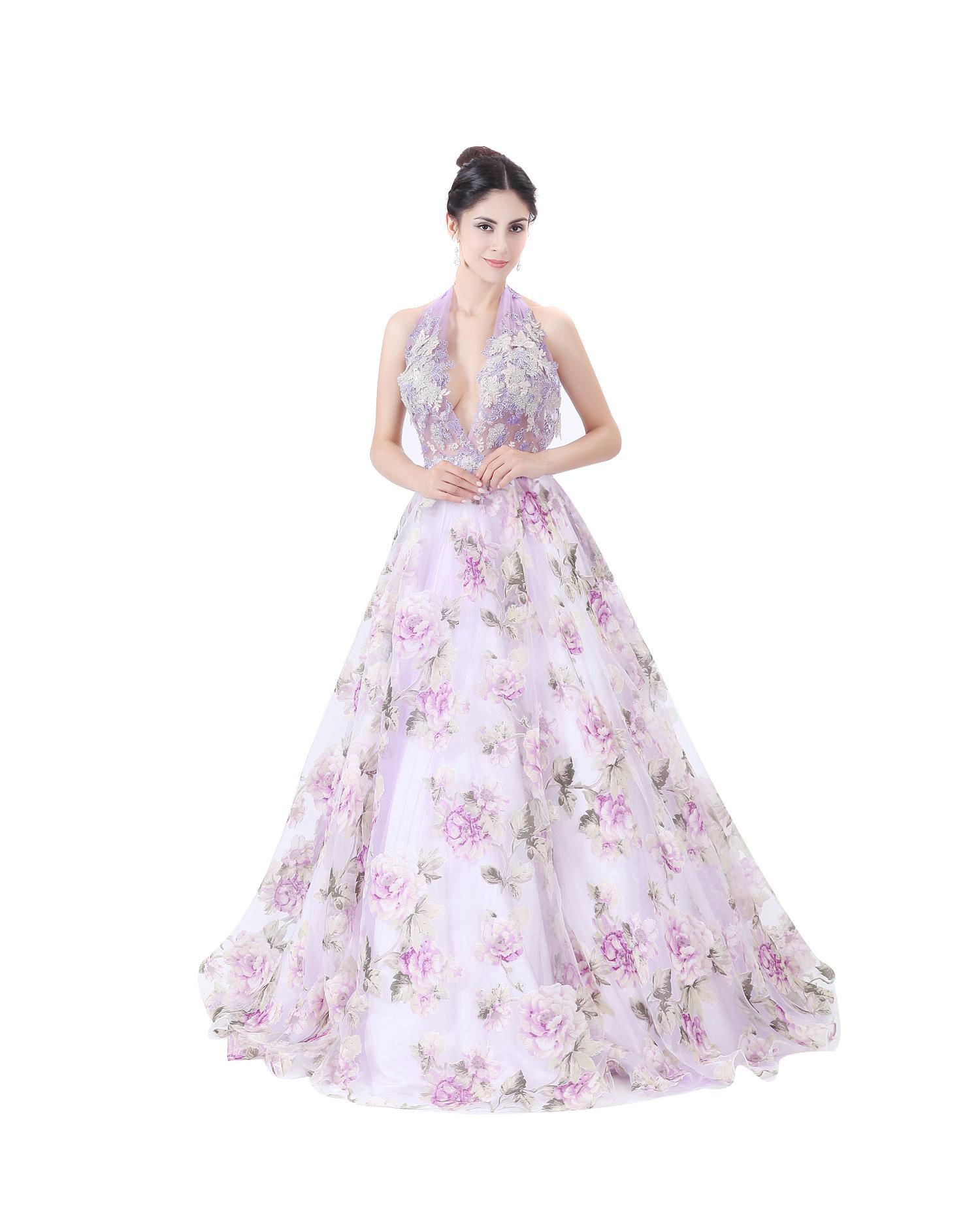 modabelle Women's Organza Print Wedding Dress Advanced Customization Formal V-neck Bridal Dresses Robe De Mariee 2017
