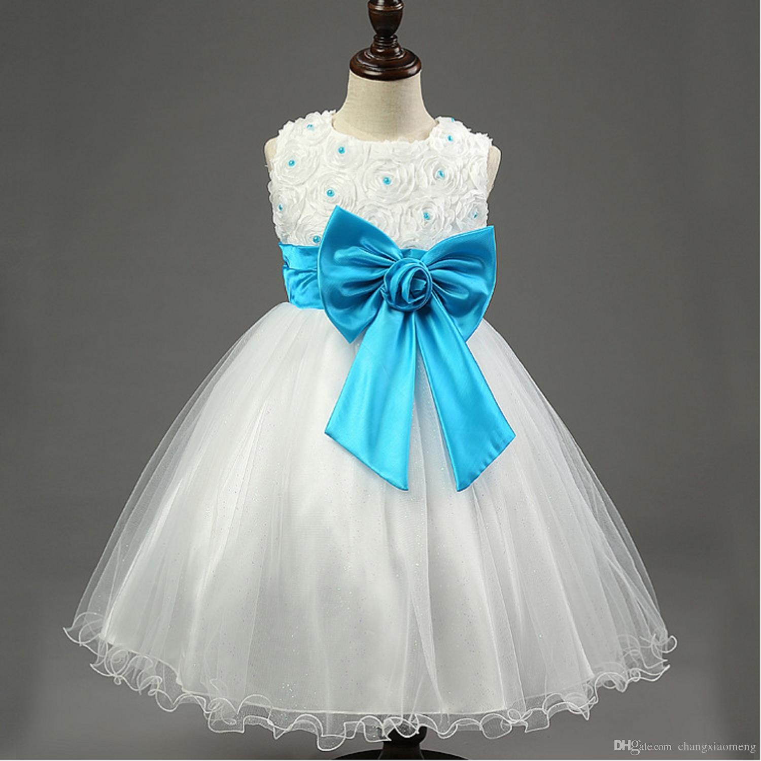 Chenlvxie Hot Sale Bow Lace Pink Red Blue Purple Flower Girl Dresses ...