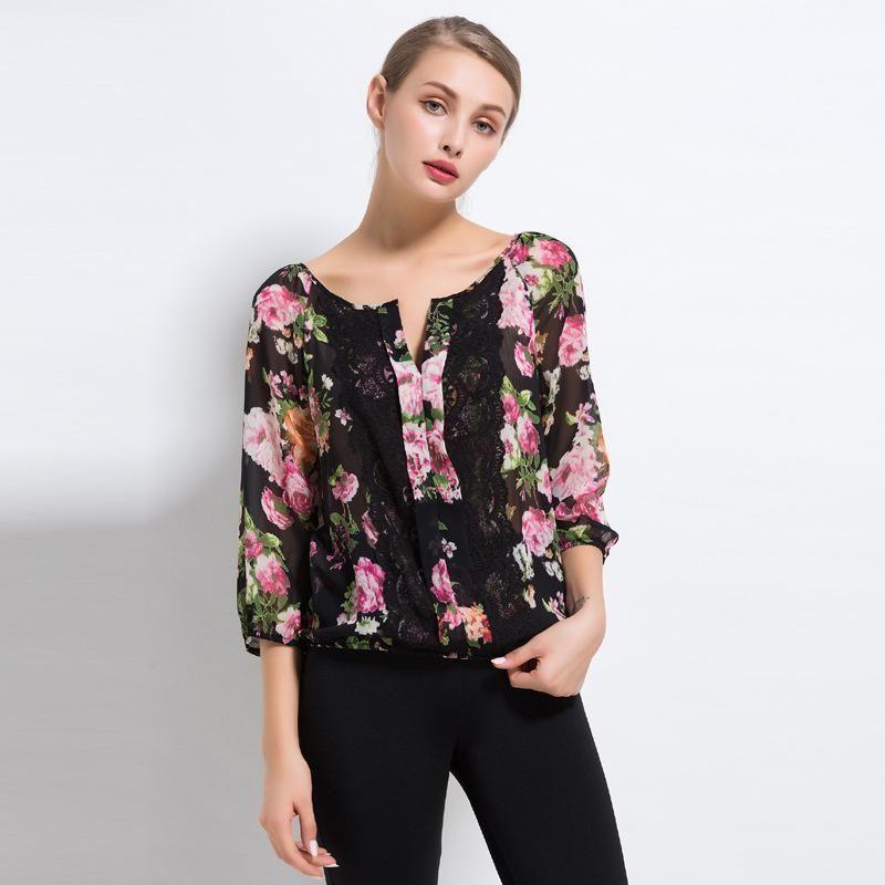 التجارة الخارجية الأصلية ذات جودة واحدة عالية المحفوظات عالية سيدة لى الحرير الشيفون قميص سبليت مشترك مثير رمز الربيع والصيف سترة