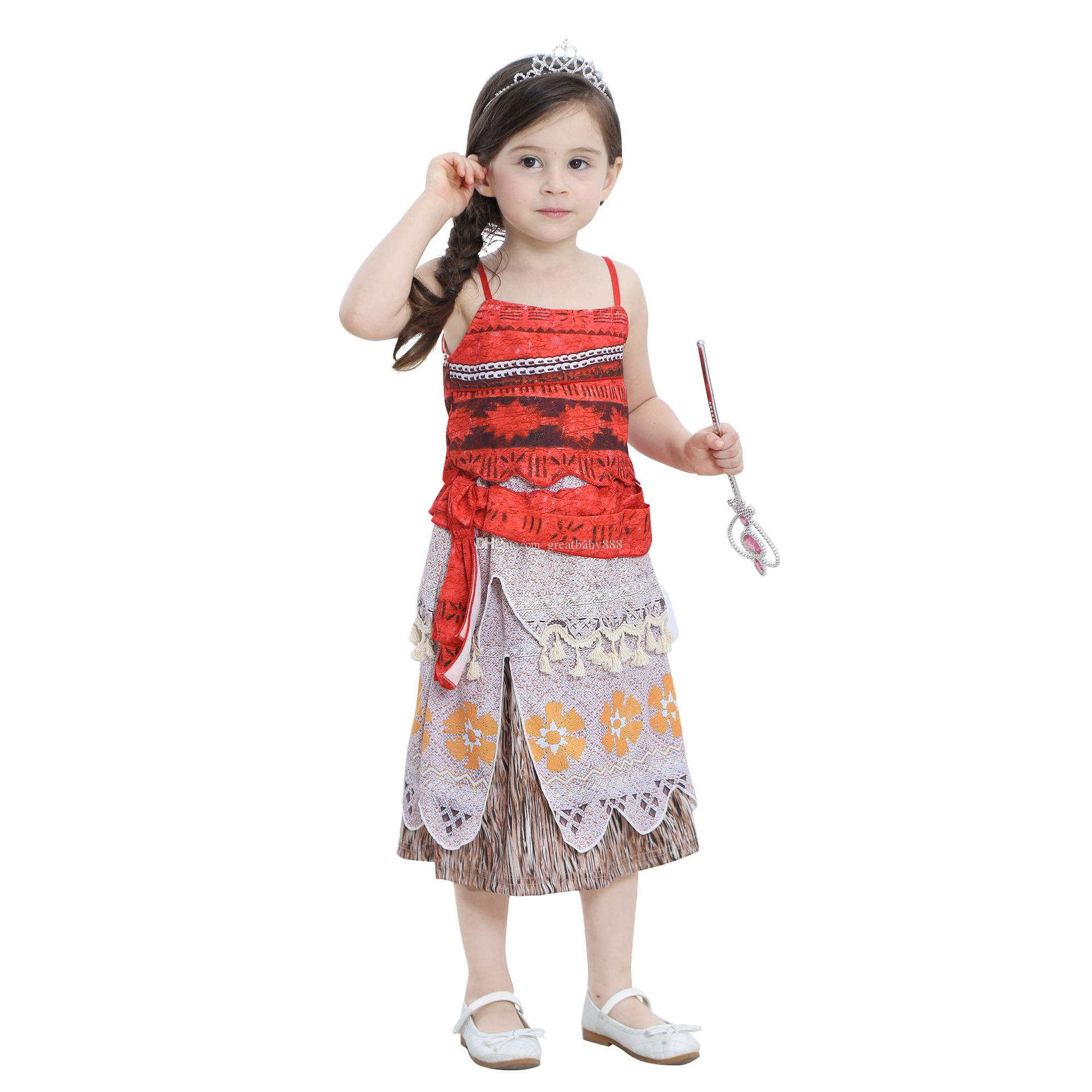Best New Baby Girls Moana Vest Skirt Suit Summer Clothes Halloween