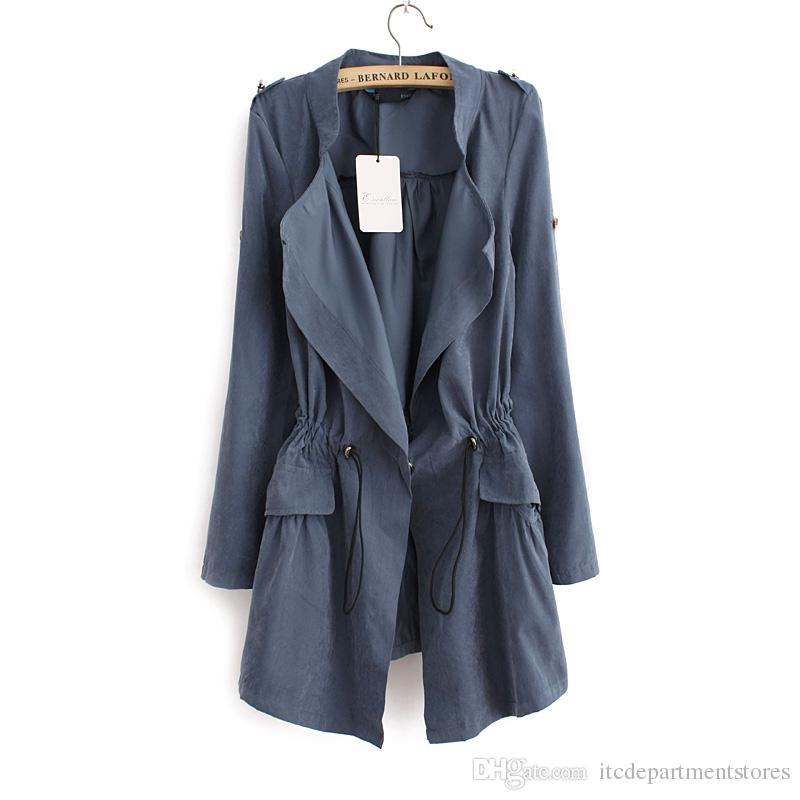 British Style Long Trench Coat For Women Spring&Autumn Vintage Slim Fit Epaulet Embellished Office Coats Free Shipping