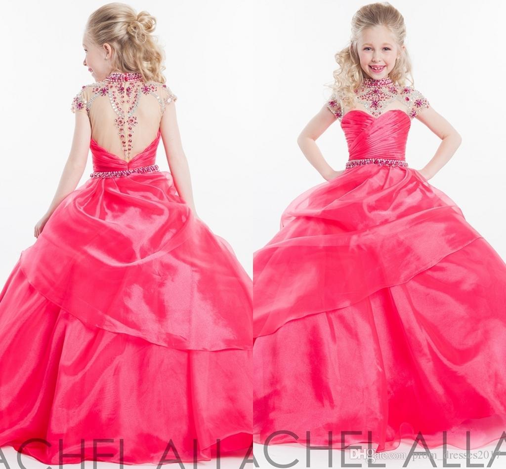Rachel Allan Flower Girl Pagenat Vestidos Sheer Jewel Pescoço com Grânulos Ilusão Voltar Princesa Criança Vestidos De Festa de Casamento HY1133