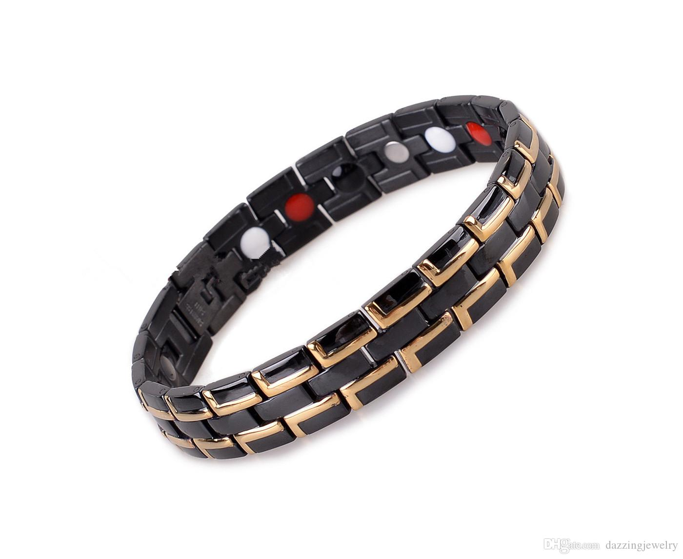 Fashion Quantum Bio Energy Stainless Steel Magnetic Health Bracelet With Germanium Infrared Anion Benefits free shipping wholesale