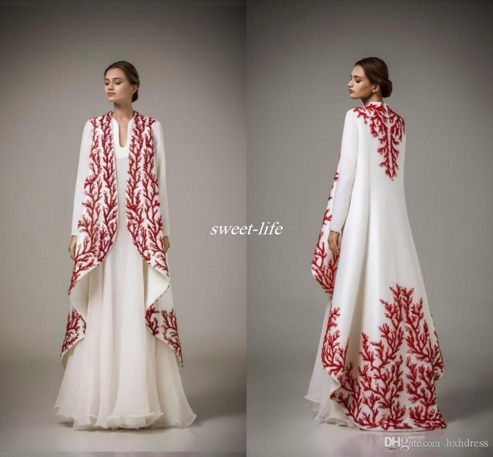 Arabic Kaftans Traditional Abayas for Muslim High Neck White Chiffon Red Embroidery Arabic Evening Gowns with Coat Formal Mother Dress 231