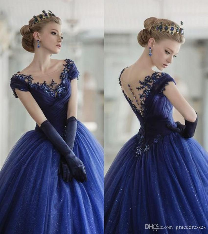 Royal Blue Wedding Gowns Princess Style Off The Shoulder Cap Sleeves Illusion Scoop Neckline Ruched Bodice