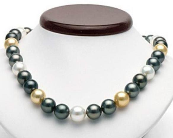 Charming 10-11mm Südsees gold schwarz weiße Perlenkette 18inch 14K Gold Spange