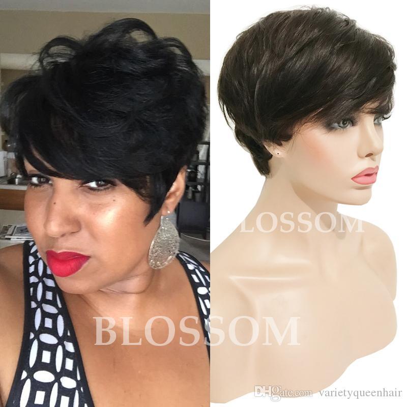 Grade 7A Glueless Keine Volle Spitze Menschliche Kurze Haarperücken Brasilianische Gerade Vordere Spitze Menschliche Haarschnittperücken für Schwarze Frauen Perücken