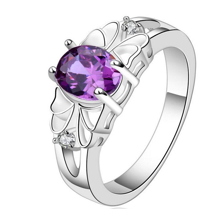 Mujeres Anillos de Boda Joyería de Circonio Cúbico Cristal Amatista Púrpura Púrpura Anillos de Piedras Preciosas Chapado En Plata Nueva Llegada