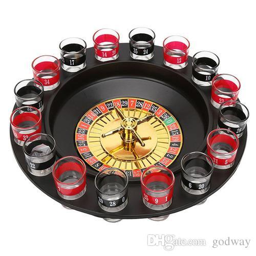 Neues Schnapsglas Deluxe Russisches Spinning Roulette Poker Chips Trinkspiel Set Partyangebot Wein Spiele für Erwachsene Drinken Spiel